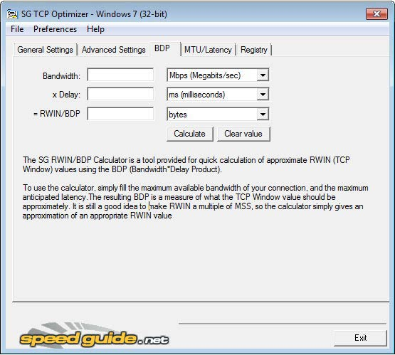 TCP Optimizer BDP