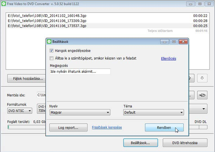 Free Video to DVD Converter több videó