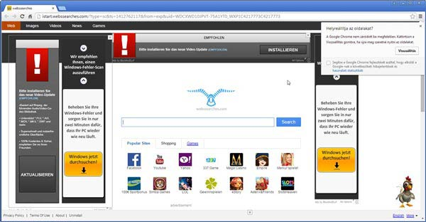 Chrome és a webssearches