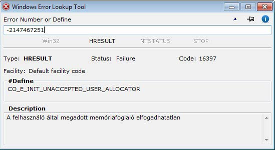 Windows Error Lookup Tool - előjeles decimális