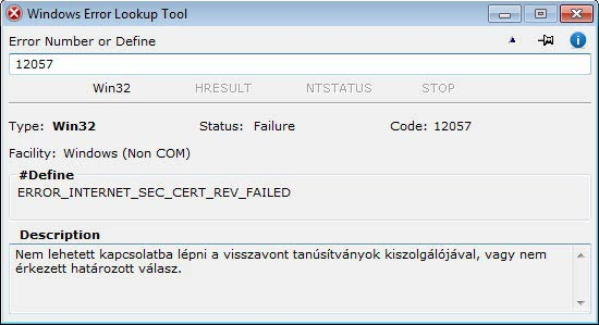 Windows Error Lookup Tool - decimális win32