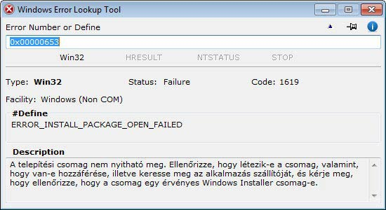 Windows Error Lookup Tool - Hexadecimális Win32