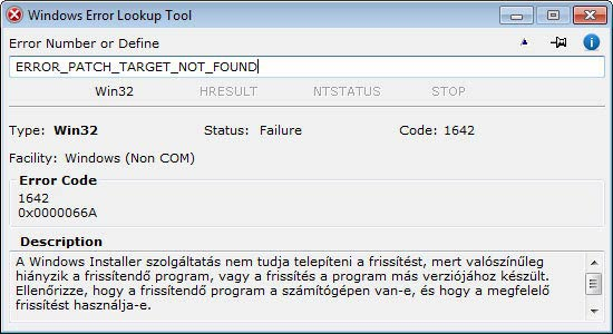 Windows Error Lookup Tool - szöveges kód