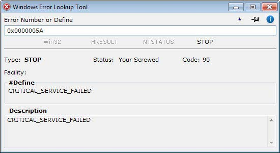 Windows Error Lookup Tool - STOP kód
