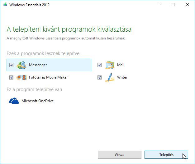 Windows Live Essentials programjai Windows 10-en