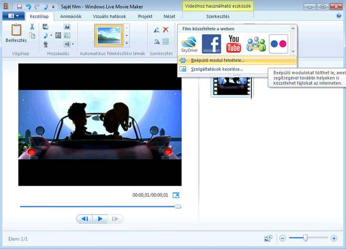 Windows Live Movie Maker közzététel