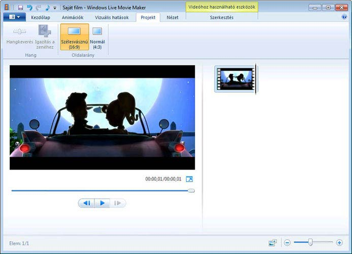 Windows Live Movie Maker arányok