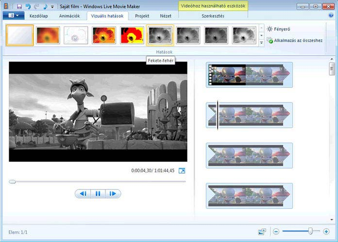 Windows Live Movie Maker fekete-fehér