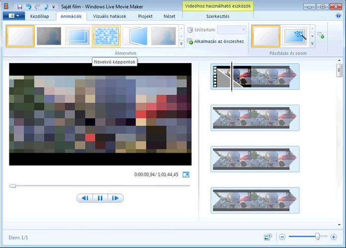 Windows Live Movie Maker animációk