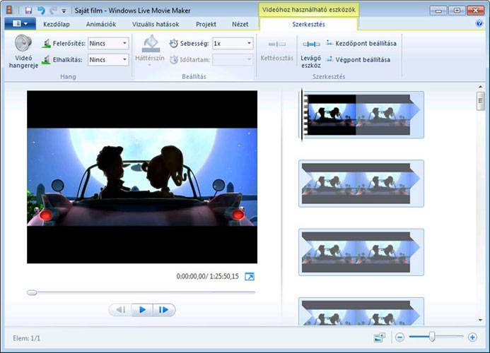 Windows Live Movie Maker eszközök