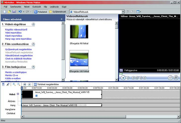 Windows Movie Maker videóeffektusok
