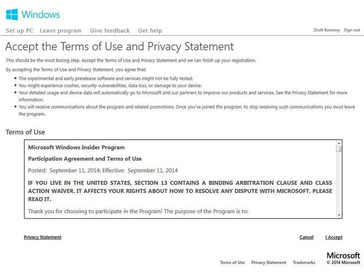 Windows 10 Microsoft Windows Insider Program