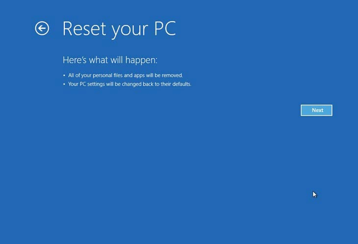 Windows 8, Reset